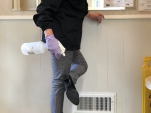 sanitizing station to clean soles of your shoes